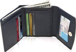 Genuine Leather Women's Trifold Navy Blue Smooth Wallet RFID Blocking | Access Denied