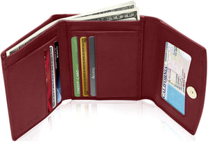 Genuine Leather Women's Trifold Red Smooth Wallet RFID Blocking | Access Denied