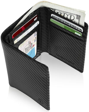 Genuine Leather Trifold Wallet With ID Window RFID Blocking Black Carbonfiber | Access Denied