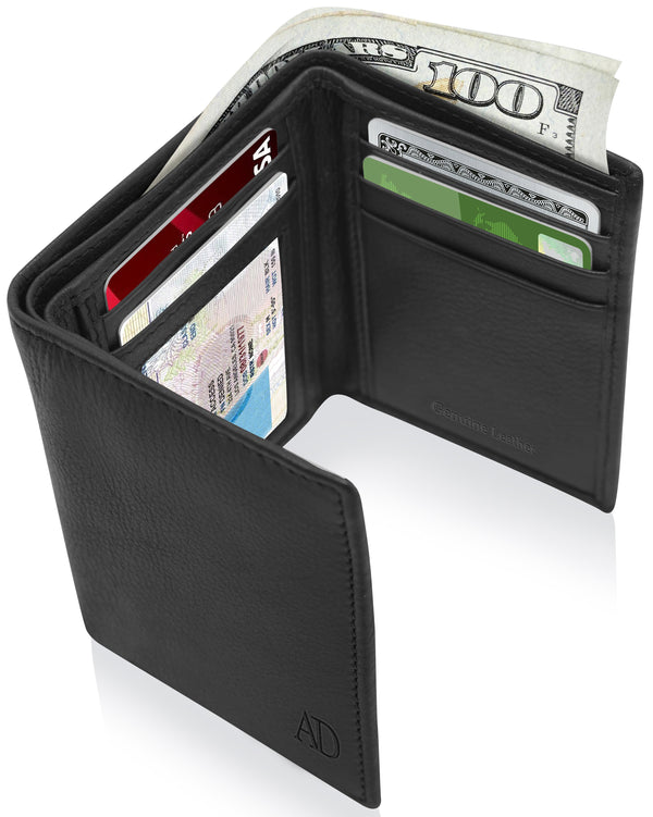 Genuine Leather Trifold Wallet With ID Window RFID Blocking Black Smooth | Access Denied