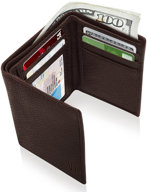 Genuine Leather Trifold Wallet With ID Window RFID Blocking Brown Pebble | Access Denied