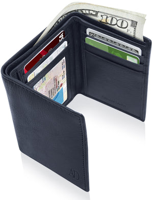 Genuine Leather Trifold Wallet With ID Window RFID Blocking Navy Blue Smooth | Access Denied