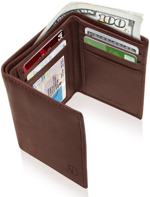 Genuine Leather Trifold Wallet With ID Window RFID Blocking Cognac Smooth | Access Denied