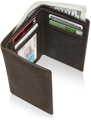 Genuine Leather Trifold Wallet With ID Window RFID Blocking Trumble Brown | Access Denied