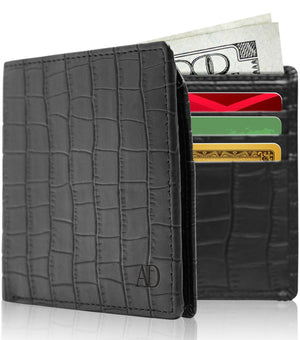 Vegan Faux Leather Bifold Wallets For Men RFID Blocking Black Alligator | Access Denied