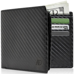 Vegan Faux Leather Bifold Wallets For Men RFID Blocking Black Carbon Fiber | Access Denied