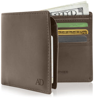 Vegan Faux Leather Bifold Wallets For Men RFID Blocking Brown | Access Denied
