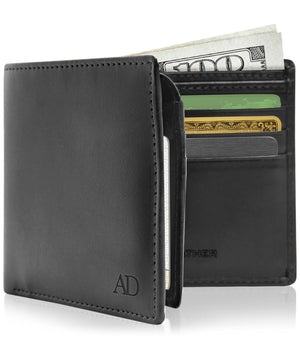 Vegan Faux Leather Bifold Wallets For Men RFID Blocking Black | Access Denied