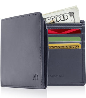 Vegan Faux Leather Bifold Wallets For Men RFID Blocking Navy Blue | Access Denied