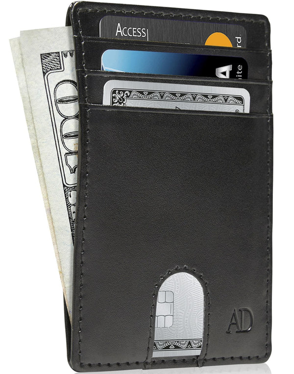 Vegan Leather Slim Card Holder Black | Access Denied