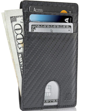 Vegan Leather Slim Card Holder Black Carbonfiber | Access Denied