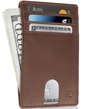 Vegan Leather Slim Card Holder Brown | Access Denied