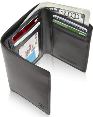 Vegan Trifold Wallet With ID Window Black | Access Denied