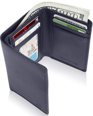 Vegan Trifold Wallet With ID Window Navy Blue | Access Denied