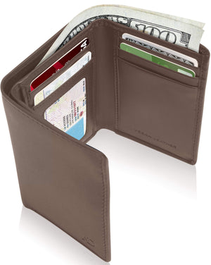 Vegan Trifold Wallet With ID Window Brown | Access Denied