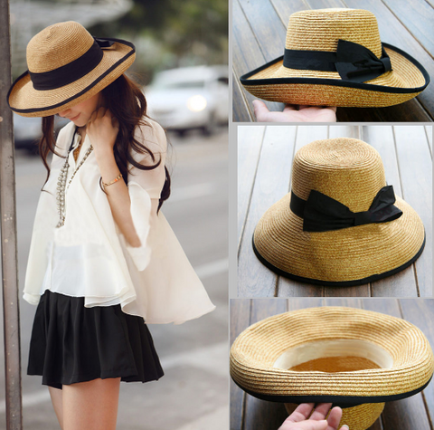 Khaki Sun Hat with Ribbon