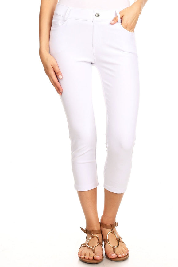 White Plus size Jean Capris  Jeggings - 5 Pockets White