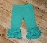 Girls Mint Ruffle Capris, Triple Ruffle Legging, Girls Ruffle Bottom Leggings, Toddler Ruffle Pants,