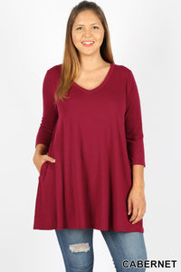 V - NECK FLARED TOP WITH SIDE POCKETS - Plus Size - 3/4 Sleeves - Cabernet Red
