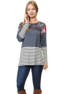 COLOR BLOCK FLORAL LONG SLEEVE TUNIC TOP