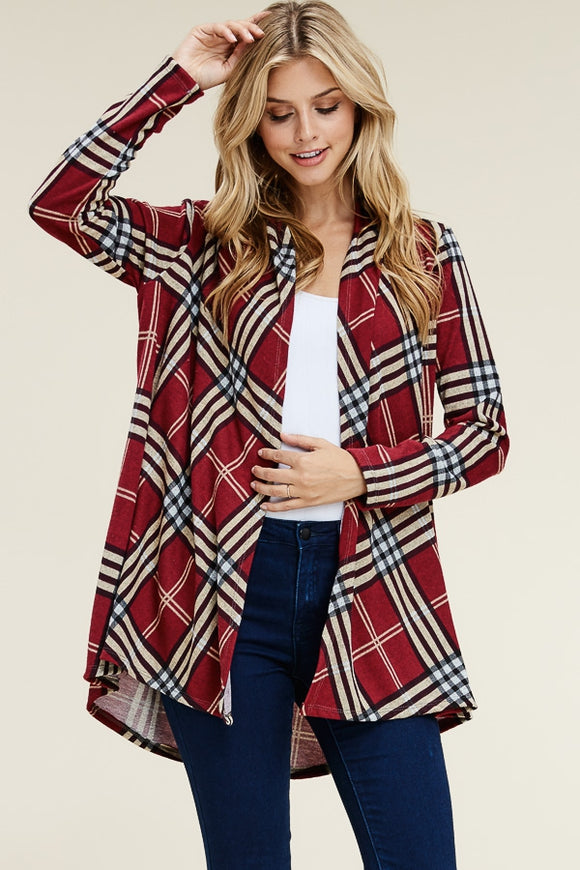 PLAID PRINT OPEN CARDIGAN COVER-UP - Red - Long Sleeves