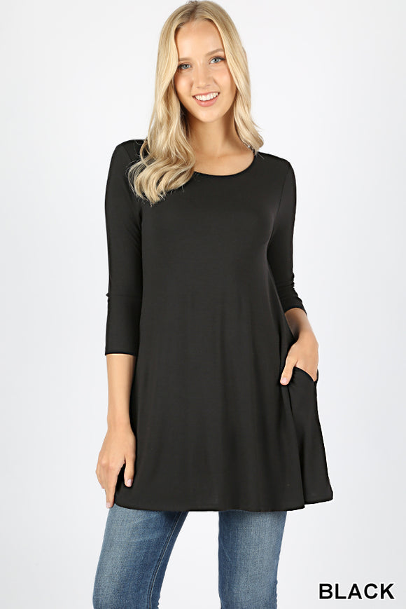 BOAT NECK FLARED TOP WITH SIDE POCKETS - 3/4 Sleeves - Black