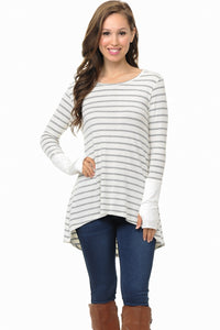 STRIPE HI-LOW TUNIC TOP WITH THUMB HOLE - White and Grey