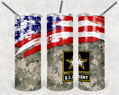 Army 20oz Skinny Tumbler custom drinkware - with straw - Stainless Steel - American Flag