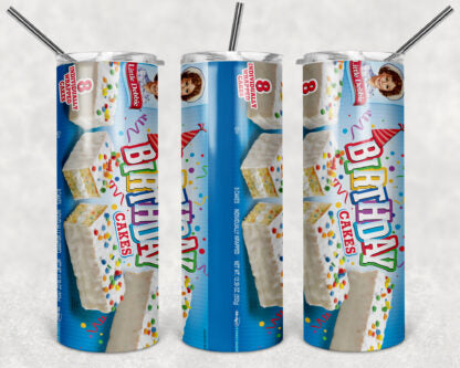 Little Debbie Birthday Cake 20oz Skinny Tumbler custom drink wear - with straw - Stainless Steel cup
