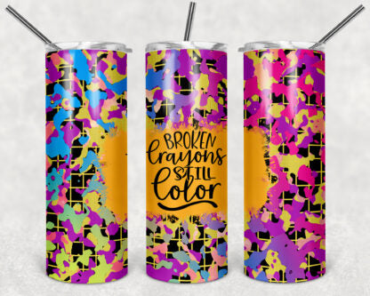Broken Crayons Still Color 20 oz Skinny Tumbler custom drinkwear - with straw