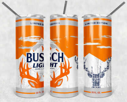 Busch Light Deer 20 oz Skinny Tumbler custom drink wear - with straw Stainless Steel Cup