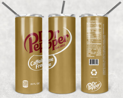 Dr. Pepper Caffeine Free 20oz Skinny Tumbler custom drink wear - with straw - Stainless Steel cup -Soda Pop