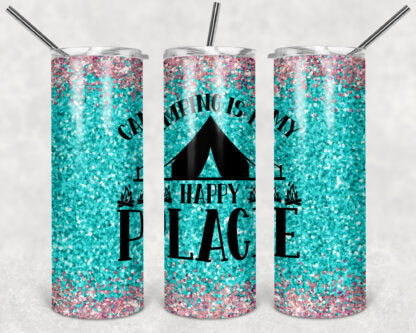 Camping Is My Happy Place 20 oz Skinny Tumbler custom drinkwear - with straw - cup