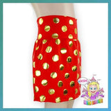 Red Gold polka dot pencil skirt - girls Christmas toddler birthday skirt