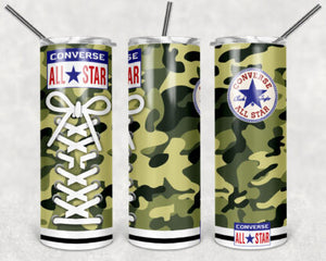 Camouflage Converse Shoes 20oz Skinny Tumbler custom drink wear - with straw - Stainless Steel cup