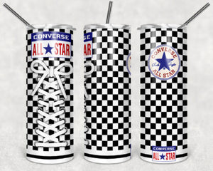 Black And White Checkered Converse Shoes 20oz Skinny Tumbler custom drinkware - with straw - Stainless Steel cup