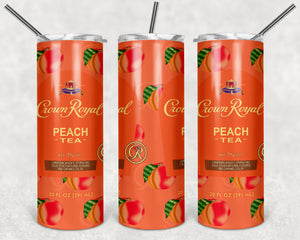 Crown Royal Peach Tea 20oz Skinny Tumbler custom drinkware - with straw - Stainless Steel cup