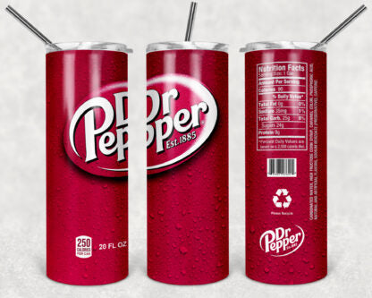 Dr. Pepper Soda 20oz Skinny Tumbler custom drink wear - with straw - Stainless Steel cup -Soda Pop