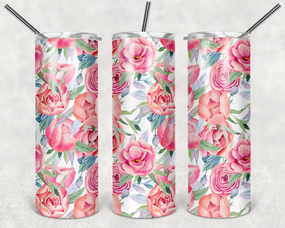 Floral Pattern 20 oz Skinny Tumbler custom drinkwear - with straw