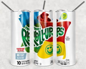 Fruit Rollups 20 oz Skinny Tumbler custom drink wear - with straw - Water cup bottle