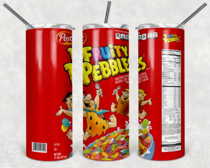 Fruity Pebbles Cereal 20 oz Skinny Tumbler custom drinkwear - with straw - Water cup bottle