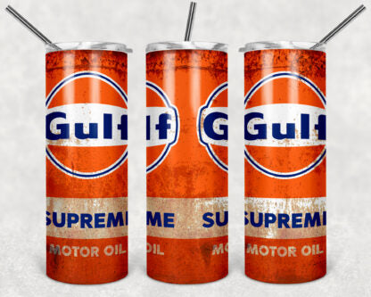 Gulf Oil 20oz Skinny Tumbler custom drink wear - with straw - Stainless Steel cup