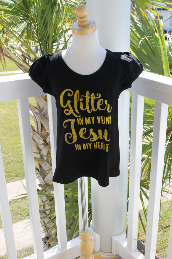 Glitter In My Veins Jesus In My Heart Shirt - Girls - Gold Custom