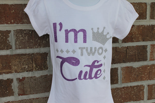 I'm two Cute shirt birthday shirt second birthday shirt 2 shirt 2nd shirt - Silver - Sparkle - glitter
