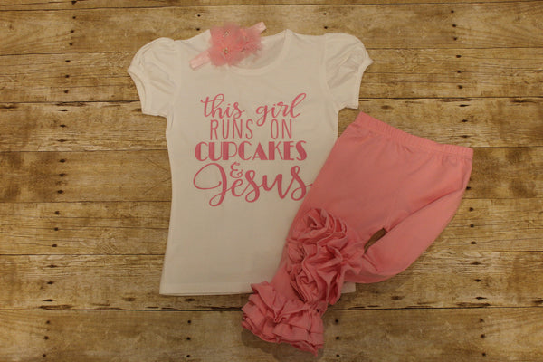This girl runs on Jesus and Cupcakes shirt - pink