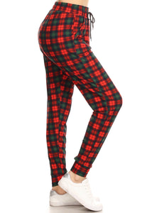Ladies Christmas plaid printed Joggers waist pockets - Red, Green - Women's