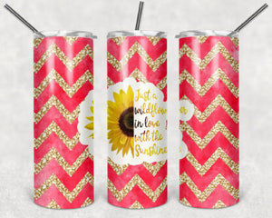 Just A WildFlower In Love With The Sunshine 20oz Skinny Tumbler custom drinkware - with straw - Stainless Steel cup