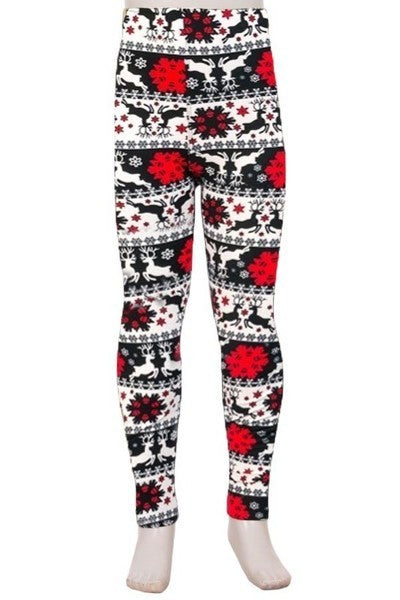 Kids Christmas print super soft leggings - reindeer snowflakes