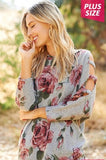 Floral top with cut out sleeves - Plus size - Grey