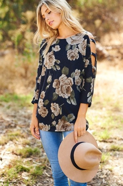 Floral top with cut out sleeves - Navy